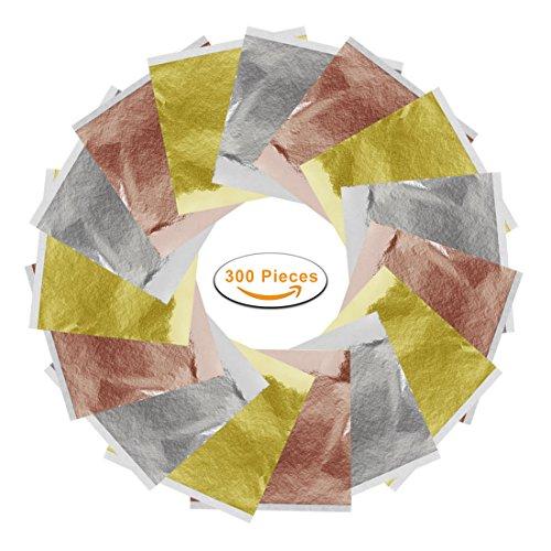 Gold Leaf Gold Foil Imitation Gold Leaf, Silver Leaf, Rose Gold Leaf for Slime, Arts, Gilding Crafting, Decoration, 300 - Gold Leaf Imitation