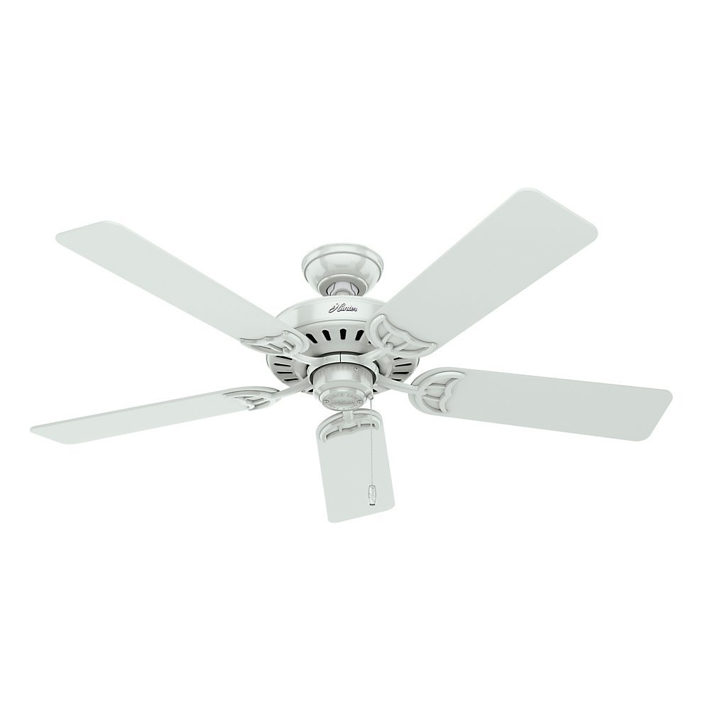 Hunter 53062 Studio Series 52 Inch Ceiling Fan With Five White Bleached Oak Blades And Light Kit