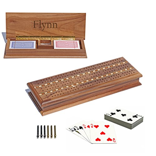 WE Games Custom Engraved Walnut Wood Cabinet Cribbage Set - 3 Track Sprint, Pegs, - Game Board Personalized