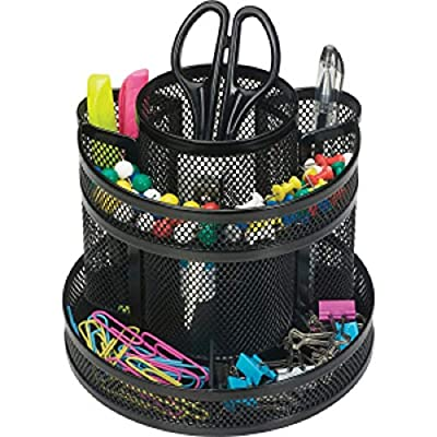 1InTheOffice 10-Compartment Rotating Desk Organizer, Scissor Rack (Plastic)