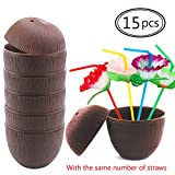 HEHALI 15pcs Plastic Coconut Cups Hawaiian Luau Party Drink Cups, Comes With Flower Straws