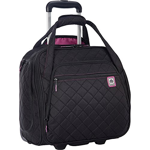 Delsey Quilted Rolling Underseat Bag For Carry-On Fits Overhead & Under Airline Seat - (Black)