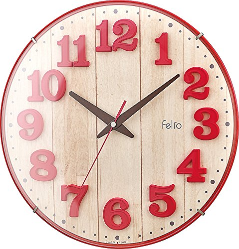 Felio Wall Clock Brule analog display continuous second hand Red FEW181R-Z