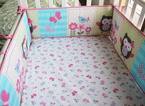 NAUGHTYBOSS Girl Baby Bedding Set Cotton 3D Embroidery Owl Bird Quilt Bumper Bedskirt Fitted Urine bag 8 Pieces Set Pink Color by NAUGHTYBOSS (Image #6)