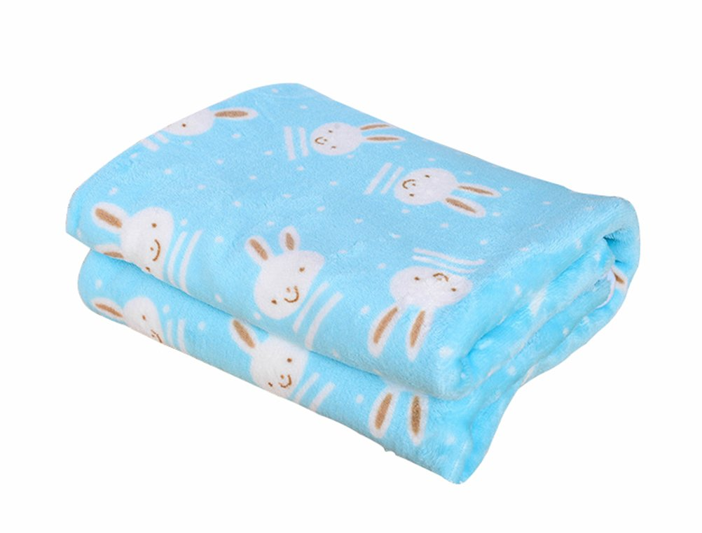 Freerun Pet Dog Cat Puppy Kitten Soft Blanket Warm Bed Mat Animal Figure Print Cushion - Blue Rabbit, L