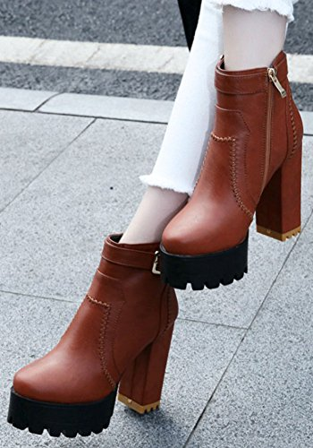 High Yellow Casual Round Chunky Womens Toe IDIFU High Boots Heel Ankle Zip With Plaform Up wqTHCvS
