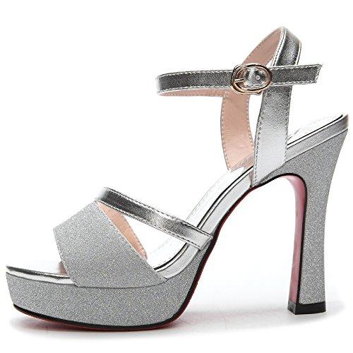 Las Verano Tobillo Zapatos De Corte Mujeres Correa Plataforma Slingback Del Plateado Bombas Sandalias Alto La Abierto Tacón Boda YwtYxOqpf
