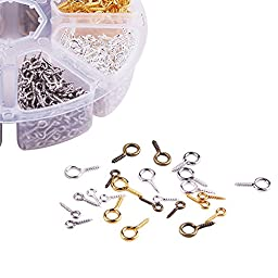 PandaHall Elite in A Box 10mm/13mm 1000 Pieces Iron Screw Eye Pin Findings Set for Clay Jewelry Assortments 4 Color