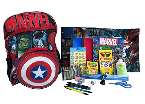 Marvel Backpack Preassembled with School Supplies – Spiral Notebooks, Folders, Art, Writing, Stickers by Combined Brands