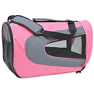 PawHut Soft Sided Pet Airline Carrier Foldable Dog Cat Bag Mesh Crate Travel Tote Transport
