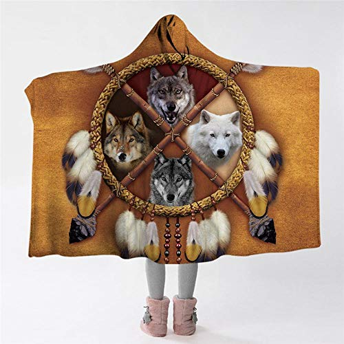 Wolves Dreamcatcher Hooded Blanket Indian Wolf Throw Blanket Sherpa Fleece 3D Animal Tribal Wearable Blanket 150x200 Kids 127(H) x152(W)