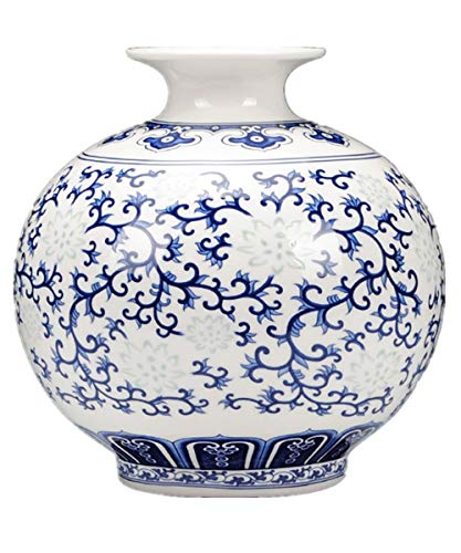 Beecurvy Hand-Painted Blue and White Porcelain Vase Ceramic Vase Home Decorative ()
