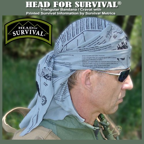 (Head for Survival® Triangular Bandana / Cravat with Survival Information - TACTICAL)