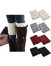 Short Women Crochet Boot Cuffs Winter Cable Knit Leg Warmers