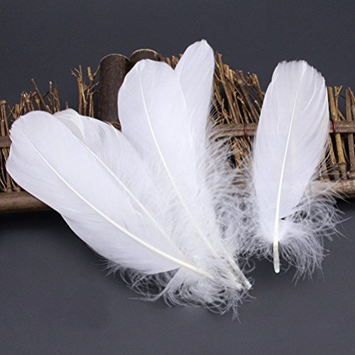 Gold Dress Parties Party Goose ups with 150pcs Wedding Birthday Crafts White Tips for Feathers ROSENICE Natural OYP6qBP4