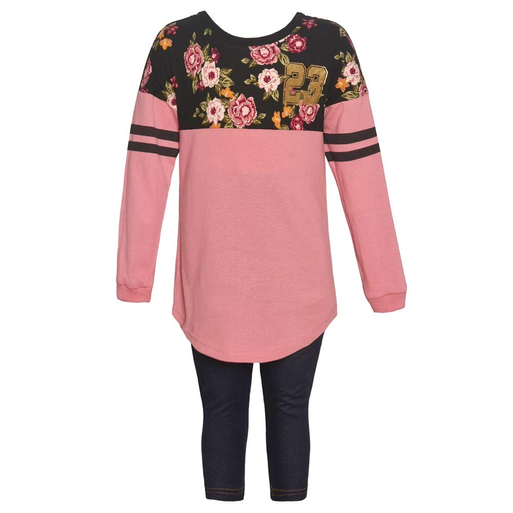 Little Girls Dark Pink Floral Panel Long Sleeved 2 Pc Pant Outfit 2-4T
