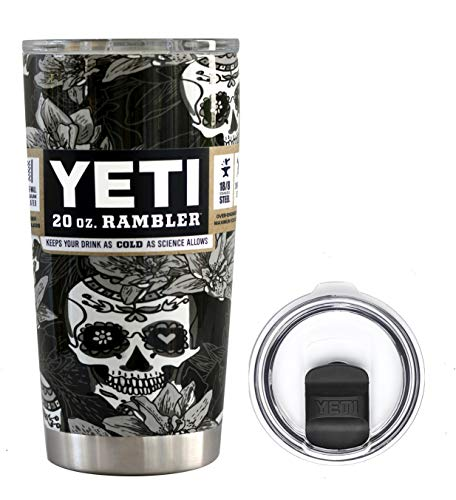 - YETI Coolers 20 Ounce (20oz) (20 oz) Custom Powder Coated or Hydro Dipped Rambler Tumbler Travel Cup Mug Bundle with New Magslider Spill Proof Lid (Dipped Black & White Sugar Skull)