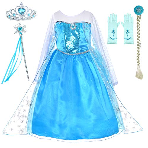 Snow Queen Princess Elsa Costumes Birthday Party Dress Up for Little Girls with Wig,Crown,Mace,Gloves Accessories 3T-4T(100cm)