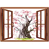 SCOCICI Peel and Stick Fabric Illusion 3D Wall Decal Photo Sticker/House Decor,Landscape with Volcano and Japanese Trees On A Cloudy Sky Cartoon Illustration,Blue Pink Gray/Wall Sticker Mural