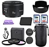 Canon 50mm f/1.8 II Camera Lens. PagingZone Deluxe Kit. 3Piece Filter Set + Lens Case + Lens Hood + 2 PC 32GB Class 10 Card + For EOS 6D, 70D, 5D MK II III, T3, T3i, T4i, T5, T5i, SL1.