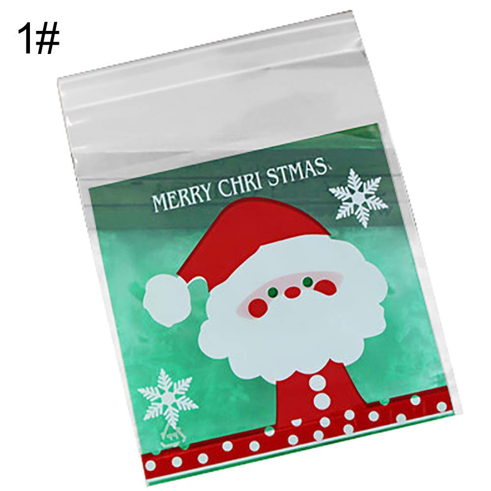 Yevison Popular 100Pcs Self-adhesive Candy Bags Christmas Cookie Packaging Case Xmas Decoration - 1 High Quality