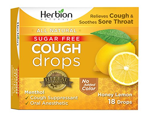 Natural Sore Lemon Throat (Herbion Naturals Sugar-Free Cough Drops with Natural Honey Lemon Flavor, 18 Drops, Oral Anesthetic - Relieves Cough, Throat, and Bronchial Irritation, Soothes Sore Mouth, For Adults and Children 2yo+)