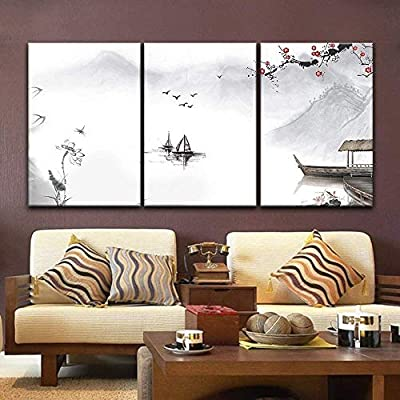 3 Panel Canvas Wall Art - Chinese Ink Painting Style Landscape with Mountains and River in Spring - Giclee Print Gallery Wrap Modern Home Art Ready to Hang - 24