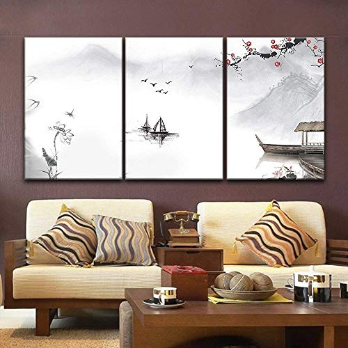 3 Panel Chinese Ink Painting Style Landscape with Mountains and River in Spring x 3 Panels