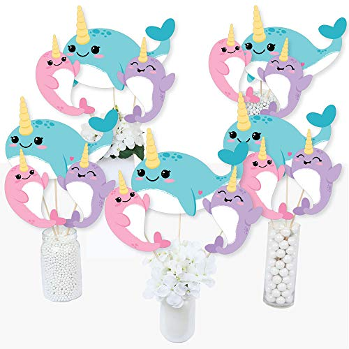 Narwhal Girl - Under The Sea Baby Shower or Birthday Party Centerpiece Sticks - Table Toppers - Set of 15 (Narwhal Baby Shower)