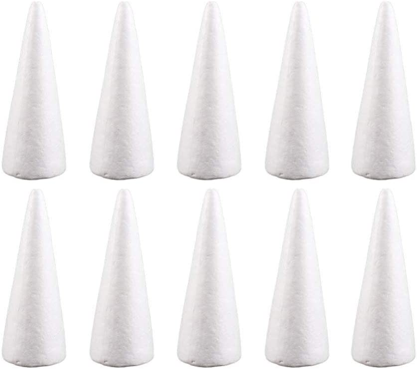 Happyyami 12pcs Craft Foam Cone White Styrofoam Cones for DIY Home Craft Project Christmas Tree Table Centerpiece 15cm