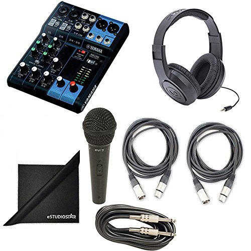 Yamaha MG06 6-Channel Mixing Console Bundle with Vocal Mic, Headphones, XLR Cable, Instrument Cable, and Polishing Cloth (Yamaha Mixing Consoles)