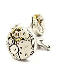 LBFEEL Cool Vintage Steampunk Watch Movement Cufflinks for Men with a Gift Box