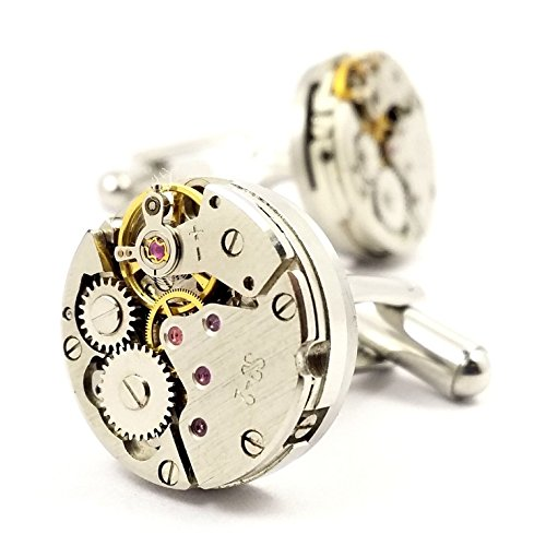 LBFEEL Cool Watch Movement Cufflinks for Men with a Gift Box by LBFEEL