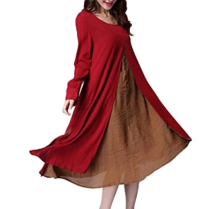 88ac96b9ea8a Amazon.com  Women Boho Dress Casual Irregular Maxi Dresses Layer ...