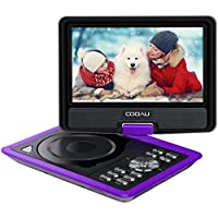 COOAU 11.5 Portable DVD Player with 9.5 Swivel Screen, 5 Hour Rechargeable Battery, Support USB/SD Card, Direct Play in Formats AVI/RMVB/MP3/JPEG, Purple