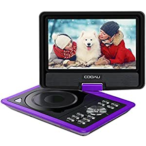 "COOAU 11.5"" Portable DVD Player with 9.5"" Swivel Screen, 5 Hour Rechargeable Battery, Support USB/SD Card, Direct Play in Formats AVI/RMVB/MP3/JPEG, Purple"