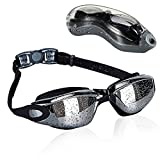 KABB Swimming Goggles, Anti Fog UV Protection No Leaking Coated Lens Swim Goggles with Protection Case for Adult Men Women Youth Kids Child (Black)