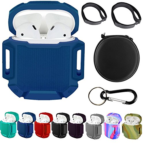 AirPods Case Protective Silicone Storage Cover with Hard Case Bonus Air Pod Accessories Storage Bag for Phone Airpods (B Blue)