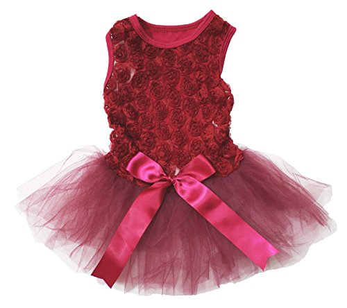 Cheap Puppy Clothes Dog Dress Valentine Wear Floral Top Red Tutu with Satin Bow (Large)