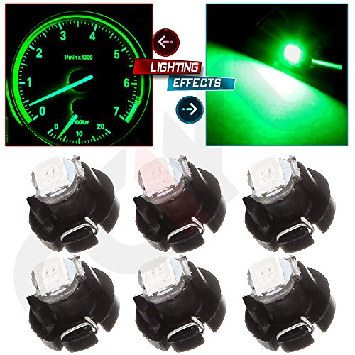 cciyu 6 Pack Red 2835 SMD T3 Neo Wedge 1 LED A/C Climate Control Lights Bulb 8mm (green)