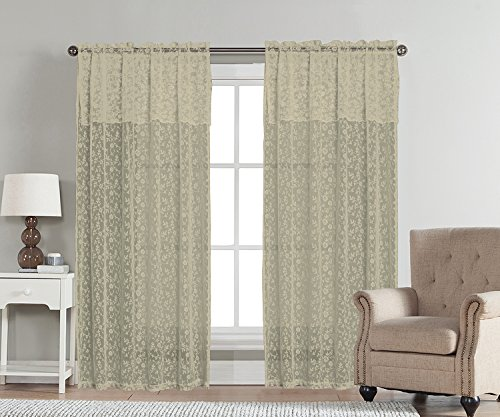 Hang Drapery Panels (Aubrey by Artistic Linen Easy to Hang Lace Rod Pocket Window Curtain Panel with Attached Valance, 54