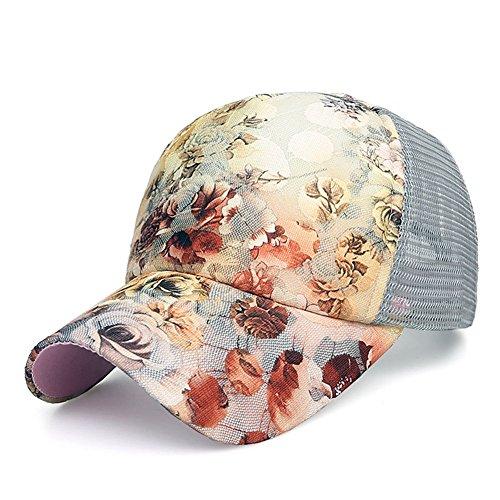 ZLSLZ Women's Mesh Lace Flower Print Sun Hat Floral Trucker Baseball Cap Hat (4Greymi)