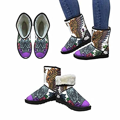 InterestPrint Women's Snow Boots Set Of Old School Flying Theme Tattoos Unique Designed Comfort Winter Boots