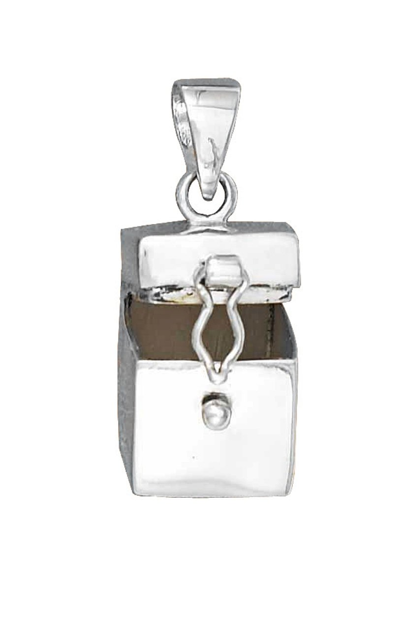 Sterling Silver Womens 24'' 1mm Box Chain Plain Prayer Box Locket Pendant Necklace