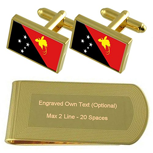 Gemelos Papua De Oro Del tono Grabado Set Clip Dinero Bandera De Regalo Del Guinea Nueva grCqwr