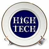 3dRose Alexis Design - Mechanical Engineering - High Tech elegant decorative text on blue background - 8 inch Porcelain Plate (cp_286078_1)