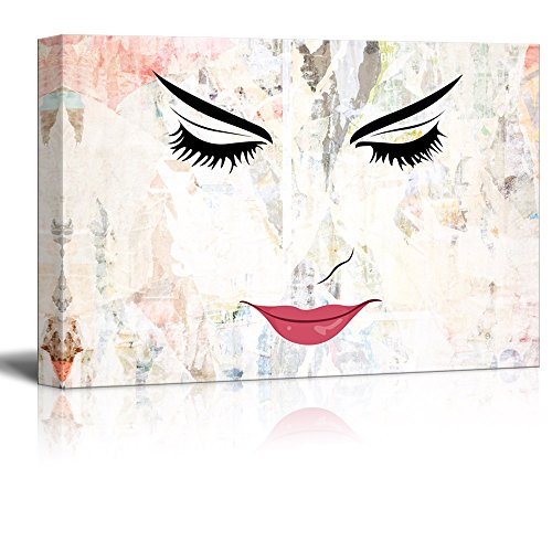wall26 Canvas Wall Art - Closeup of a Woman's Face with Closed Eyes and Red Lips - Giclee Print Gallery Wrap Modern Home Decor Ready to Hang - 16x24 inches