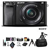 Sony Alpha a6000 Mirrorless Camera with 16-50mm Lens Black with Soft Bag, Additional Battery, 64GB Memory Card, Card Reader, Plus Essential Accessories