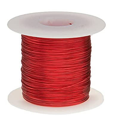 "Remington Industries 22SNSP 22 AWG Magnet Wire, Enameled Copper Wire, 1.0 lb, 0.0263"" Diameter, 507' Length, Red"