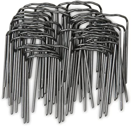 Windhager Pflanzenstecker für die Befestigung von Pflanzentrieben an Kokos-Pflanzstäben, Schwarz, 50 Stück, 06194 metallic